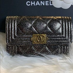 CHANEL Bags - Authentic Chanel Le Boy Metallic Card Holder